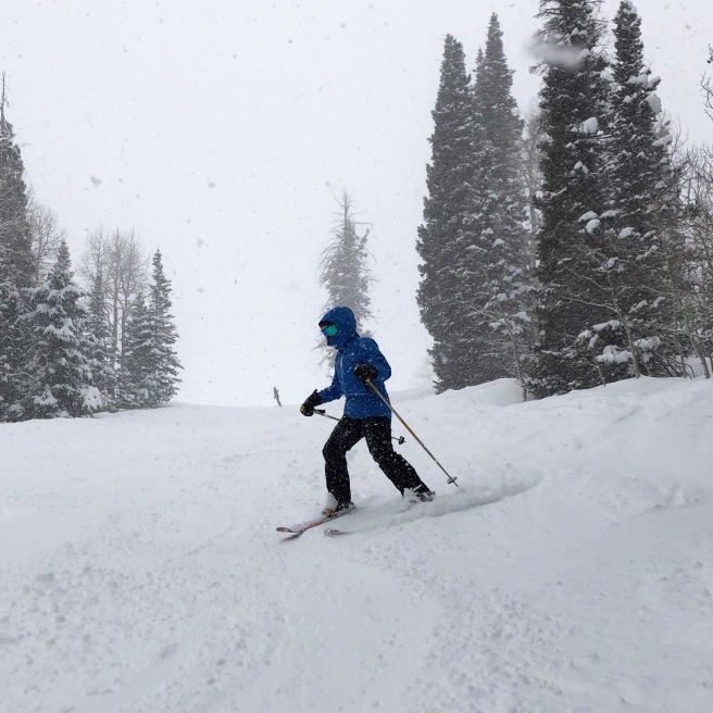 Skier comes down a snowy mountain